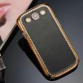 Чехол для Samsung i9300 S3 из жесткой кожи с позолоченной окантовкой, украшенной стразами, 5 цветов