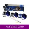 Крем-гель подводка для глаз, коричневый + черный + синий