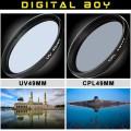набор: UV-фильтр 49 мм; поляризационный 49 мм CPL-фильтр для Canon, Nikon, Sony