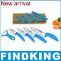 Набор ножей из циркониевой керамики с принтом на лезвиях и чехлами: 7,5 см, 10 см, 12 см, 15 см + овощечистка