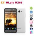 "Mlais MX58 - смартфон, Android 4.1.2, MTK6589 Quad Core 1.2GHz, 5.0"" IPS 720Р, 2 SIM-карты, 1ГБ RAM, 4ГБ ROM, поддержка карт microSD, WCDMA/GSM, Wi-Fi, Bluetooth, GPS, FM-радио, основная камера 12МП и фронтальная камера 2МП"
