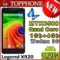"Star Legend X920 - смартфон, 2 SIM-карты, Android 4.2, 5"" HD IPS, MT6589 (4 х 1.2Гц), 1ГБ RAM, 4ГБ ROM, поддержка карт TF, 3G, Wi-Fi, GPS, Bluetooth, FM-тюнер, основная камера 8МП и фронтальная камера 2МП"