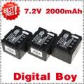 CGA-DU14 - 3 аккумулятора Li-ion 2000 мАч для Panasonic DU06 DU07 NV-GS10