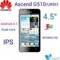 "Huawei Ascend G510 (U8951) - смартфон, 2 SIM-карты, Android 4.1, 4.5"" IPS 480х854, MSM8225 Snapdragon (2 х 1.2 ГГц), 512МБ RAM, 4ГБ ROM, поддержка карт microSD, 3G, Wi-Fi, Bluetooth, GPS, FM-радио, основная камера 5МП и фронтальная камера 0.3МП"