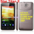 "Star Titan II T5 - смартфон, Android 4.0.4, MTK6577 (2x1.2GHz), qHD 4.5"" TFT LCD, 512MB RAM, 4GB ROM, 3G, Wi-Fi, Bluetooth, GPS, 8MP задняя камера, 0.3MP фронтальная камера"