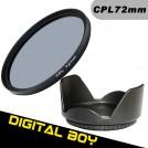 Набор:циркулярно-поляризационный фильтр 72 мм, бленда 72 мм для Canon 15-85; Nikon 18-200