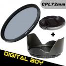 Набор: циркулярно-поляризационный фильтр 72 мм, бленда, крышка объектива; для Canon 15-85; Nikon 18-200