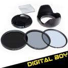 Набор: УФ фильтр 67 мм, циркулярно-поляризационный фильтр 67 мм, нейтрально-серый фильтр ND2-ND400, бленда, крышка объектива; для Canon 18-135; Nikon 18-105