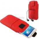 Универсальный кожаный чехол с карманом для наушников для Samsung S4 / i9500/i9300/i9250/i8750/iPhone 5 / HTC One