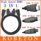 Кабель конвертор для Full HD 3 в 1 HDMI Mini, HDMI Micro, V1.4, 1.5м