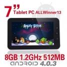 "TBS M713 - планшетный компьютер, Android 4.0.3, TFT LCD 7"", 1.2GHz, 512MB RAM, 8GB ROM, Wi-Fi, 0.3MP фронтальная камера"
