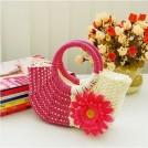 Соломенная сумка с хризантемой на молнии