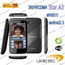 "Star A3 - смартфон, Android 2.3, MTK6573 (650MHz), 4"" TFT LCD, 256MB RAM, 512MB ROM, 3G, Wi-Fi, Bluetooth, GPS, FM, 3MP задняя камера, 0.3MP фронтальная камера"