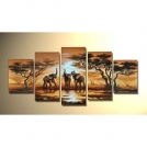 """Современная абстрактная живопись маслом на холсте """"Слоны"""", группа из 5 картин"""