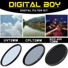 набор: UV-фильтр 72 мм; поляризационный 72 мм CPL-фильтр; фильтр ND2-ND400 для Canon 15-85; Nikon 18-200