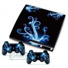 """Виниловые наклейки для игровой приставки Playstation 3 """"Голубые цветы"""""""