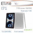 "Eline i71 - планшетный компьютер, Android 4.0.3, 7"" IPS, Nufront NuSmart NS115 (2x1.5GHz), 1GB RAM, 8GB ROM, Wi-Fi, 0.3MP фронтальная камера"