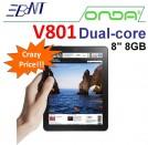"Onda V801 - планшетный компьютер, Android 4.0.3, 8"" TFT LCD, Amlogic AML8726-MX (2x1.5GHz), 1GB RAM, 8GB ROM, Wi-Fi, HDMI, 0.3MP фронтальная камера"