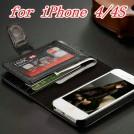 Кожаный чехол-бумажник для iPhone 4; 5 с отделением для 7 пластиковых карт