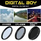 Набор:УФ фильтр 49мм, циркулярно-поляризационный фильтр 49 мм, нейтрально-серый фильтр ND2-ND400 для Canon; Nikon; Sony