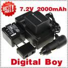 CGA-DU14 - 2 аккумулятора + зарядное устройство + автомобильное зарядное устройство для Panasonic DU06 DU07 NV-GS10