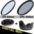 Набор: УФ фильтр 55 мм, циркулярно-поляризационный фильтр 55 мм, бленда, крышка объектива; для Canon; Nikon; Sony 18-55