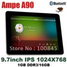 "Ampe A90 - планшетный компьютер, Android 4.0.3, 9.7"" IPS, All Winner A10 (1.2GHz), 1GB RAM, 16GB ROM, Wi-Fi, HDMI, Bluetooth, 0.3MP фронтальная камера, 2MP задняя камера"