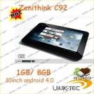 "Zenithink C92 - планшетный компьютер, Android 4.0.3, 10.1"" TFT LCD, AMLogic 8726-M (1.5GHz), 1GB RAM, 8GB ROM, Wi-Fi, HDMI, 0.3MP фронтальная камера"