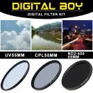 Набор:УФ фильтр 55 мм, циркулярно-поляризационный фильтр 55 мм, нейтрально-серый фильтр ND2-ND400, для Canon 18-55; Nikon 50/1.4G