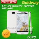 "Zopo ZP950 Leader Max - смартфон, Android 4.1.1, MTK6577 (1.2GHz), HD 5.7"" IPS, 1GB RAM, 4GB ROM, 3G, Wi-Fi, Bluetooth, GPS, 8MP задняя камера, 2MP фронтальная камера"