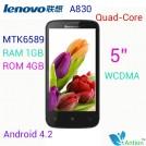 "Lenovo A830 - смартфон, 2 SIM-карты, Android 4.2.1, qHD 5"" IPS, MTK6589 (4 х 1.2 ГГц), 1ГБ RAM, 4ГБ ROM, поддержка карт microSD, 3G, Wi-Fi, Bluetooth, GPS, FM-радио, основная камера 8МП и фронтальная камера 0,3МП"