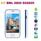 "BML 6802 - смартфон, Android 4.1, SC6820 Cortex A5 1GHz, 3.5"", 2 SIM-карты, 256MB RAM, 256MB ROM, поддержка карт microSD, GSM, Wi-Fi, Bluetooth,FM-радио, основная камера 2МП"