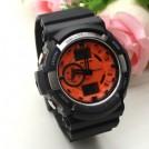 Практичные мужские водонепроницаемые часы, LED подсветка, оранжевые