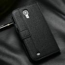 Кожаный чехол для Samsung Galaxy S4 с отделением для пластиковых карт и купюр, и подставкой + защитная пленка для экрана