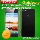 "ZOPO C2 - смартфон, ОС Aliyun, 2 SIM-карты, 5"" Full HD IPS, MTK6589 (4 х 1.5 ГГц), 1ГБ RAM, 4ГБ ROM, поддержка карт microSD/TF, 3G, Wi-Fi, Bluetooth, GPS, FM-радио, основная камера 13МП и фронтальная камера 5МП"
