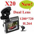 X20 - автомобильный видеорегистратор, 2.7-дюймовый ЖК дисплей, угол обзора 140 градусов, двойная камера