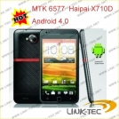 "Haipai X710D - смартфон, Android 4.0.4, MTK6577 (1.2GHz), 5.3"" TFT LCD, 512MB RAM, 4GB ROM, 3G, Wi-Fi, Bluetooth, GPS, FM, 8MP задняя камера, 0.3MP фронтальная камера"