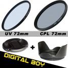 Набор: УФ фильтр 72 мм, циркулярно-поляризационный фильтр 72 мм, бленда, крышка объектива; для Canon 15-85; Nikon 18-200