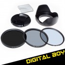 Набор: УФ фильтр 62 мм, циркулярно-поляризационный фильтр 62 мм, нейтрально-серый фильтр ND2-ND400, бленда, крышка объектива; для Canon; Nikon; Pentax 18-250