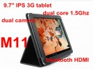 "AOSON M11  - планшетный компьютер, Android 4.0, 9.7"" IPS-дисплей, RK3066 (2х1.5Ггц), RAM 1 гб, ROM 16 гб, WIFI, Bluetooth, HDMI, 3G, фронтальная камера 0,3 Мп, задняя камера 2 Мп"