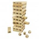 """Игра """"Деревянная башня"""", 54 блока + 4 кубика"""