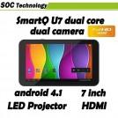 "SmartQ U7 - планшетный компьютер, Android 4.1.1, 7"" IPS, TI OMAP 4430 (2x1GHz), 1GB RAM, 8GB ROM, HDMI, Wi-Fi, Bluetooth, 2MP фронтальная камера, 2MP задняя камера, LED-проектор"