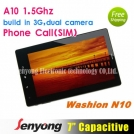 "Washion N10 - планшетный компьютер/мобильный телефон, Android 4.0.3, TFT LCD 7"", All Winner A10 (1.2GHz), 512MB RAM, 8GB ROM, GSM, 3G, Wi-Fi, HDMI, 0.3MP фронтальная камера, 2MP задняя камера"