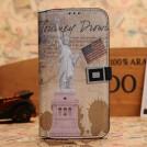 Кожаный чехол для Samsung Galaxy S4 с рисунками памятников архитектуры; отделение для пластиковых карт и подставка, 6 типов