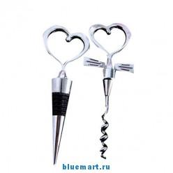 Набор из винтовой винной пробки и штопора с ручками в виде сердечек