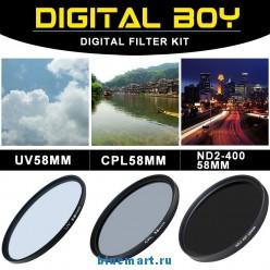 набор: UV-фильтр 58 мм; поляризационный 58 мм CPL-фильтр ND2-ND400 для Canon 18-55; Nikon 50/1.4G