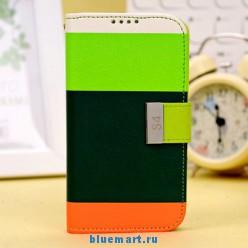 Кожаный чехол с красочным дизайном для Samsung Galaxy S4, с отделением для пластиковых карт и подставкой