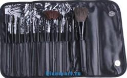 Набор кистей (12шт) для макияжа в кожаном чехле