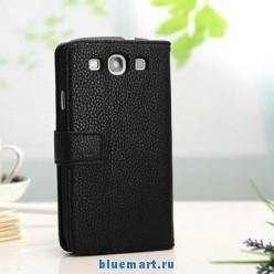 Кожаный чехол для Samsung Galaxy S3 с отделением для пластиковых карт и купюр, и подставкой