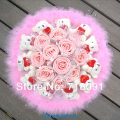 Букет из игрушек с розами и мишками, 35х35 см